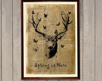 Deer poster Wildlife decor Dictionary page Animal print WA194
