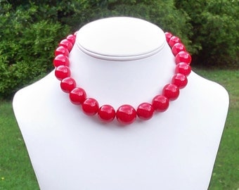 Dayna - Cherry Red Graduated Beaded Necklace - 18mm to 8mm Round Beads