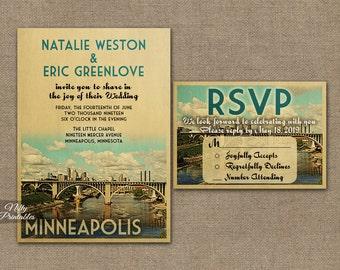 Minneapolis Wedding Invitation - Printable Vintage Minneapolis Minnesota Wedding Invites - Minneapolis Retro Wedding Suite or Solo VTW
