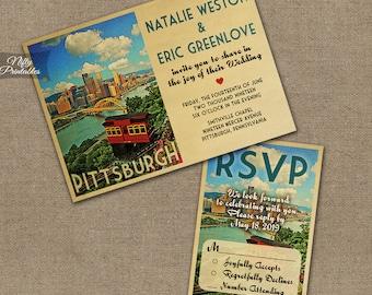 Pittsburgh Wedding Invitation - Printable Vintage Pittsburgh Pennsylvania Wedding Invites - Retro Pittsburgh Wedding Suite or Solo VTW