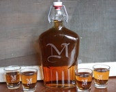 Custom Personalized 5pc. Vintage Glass Decanter Set  with 4 shot glasses. Groomsmen Wedding Gift for Him