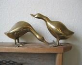 Brass Duck Pair- Brass Table Decor- 70's Brass- Vintage Brass Decor- Brass Bird Pair- Brass Animal