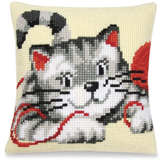 Modern Cross Stitch Pillow Kits : Needlepoint Cat Pillow Kit Vervaco Kit Cross Stitch Kit