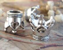 Crown bead,Crown Heart charm,Large hole love crown bead,