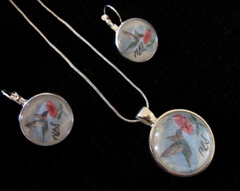 Hummingbird Pen and Ink  Glass Earrings and Pendant  Set