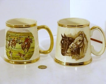 English mugs, one with a hunting motif the other with Horse heads