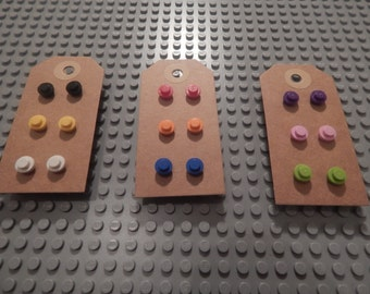Full set of 9, Nine pairs of stud earrings made with 1x1 Lego parts