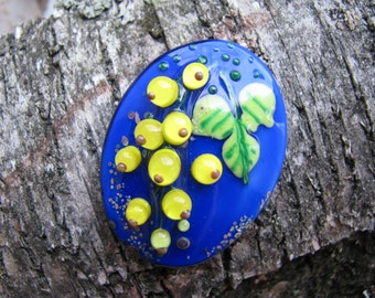 "Lampwork Glass Cabochon, Yellow currant Cab, , Handmade, Artisan cabochon, Iveta Linde Lampwork ""Yellow currant"""