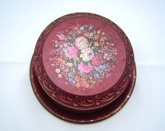 1950s biscuit tin and tray Bassinger Wallisand Manners made in England