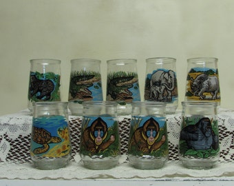 Welch's Jelly Glass Jar Endangered Species Collection ~ Group of  9 ~ Panda Logo World Wildlife Fund