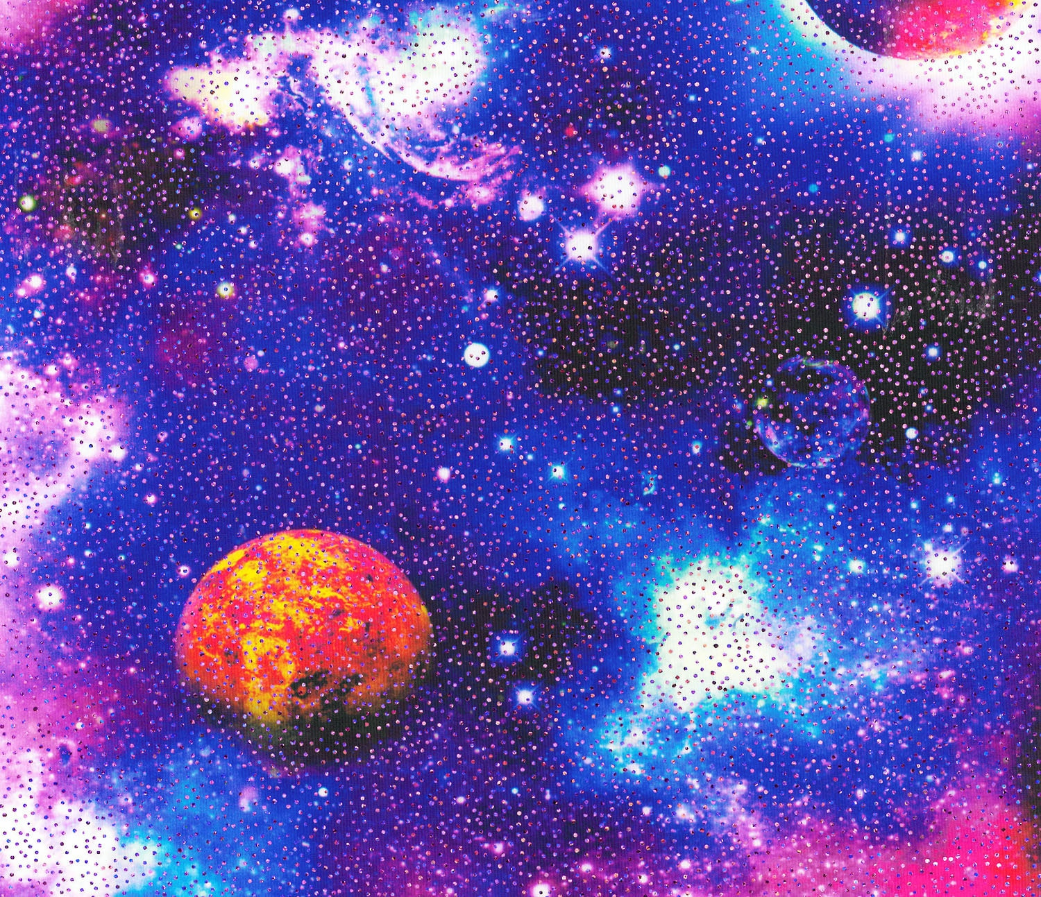 Stretch fabric multi color galaxy with metallic foil four for Galaxy material fabric