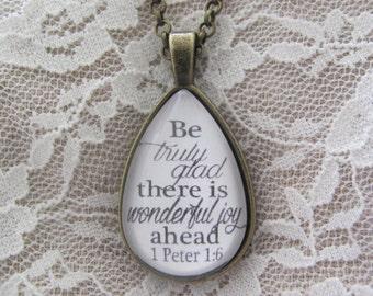 1 Peter 1:6 Teardrop Pendant Necklace