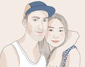 Custom Portrait, 2 people, digital drawing, unique gift for birthday, wedding… !