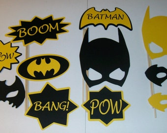 Batman Boom Photo Booth Props 11pc Yellow and Black (2102D)