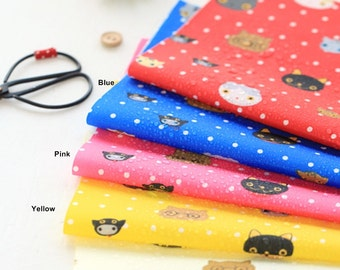 Waterproof Cotton Blend Fabric Cat in 4 Colors By The Yard
