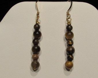 Genuine Tigers Eye Bead Earrings/ Handmade/ Handcrafted