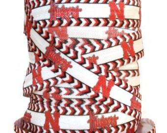 5/8 Inch FOE Nebraska Huskers Fold Over Elastic Ribbon, Huskers FOE, Huskers Ribbon, Sports Ribbon, Elastic By The Yard by KC Elastic Ties