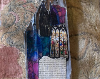Gothic Cathedral Collage on Wood Wall Hanging Art Stained Glass About Prayer Altered Photos by Tree Pruitt