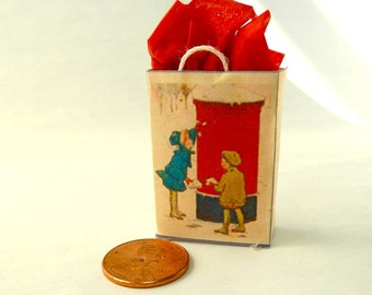 Christmas decorated gift bag with Norman Rockwell painting dollhouse miniature 1/12 scale.