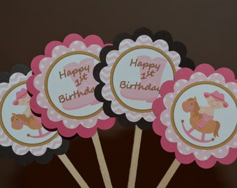 Cowgirl Theme Happy Birthday Cupcake Toppers - Cowgirl Party - Western Theme Party - Pink Cowgirl - Set of 12