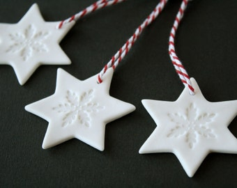 Porcelain Christmas ornaments 3 star snowflake ceramic Christmas decorations