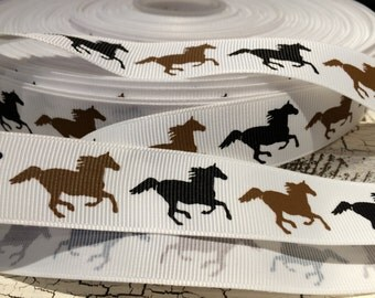 "7/8"" Preppy Brown and Black Equestrian Western HORSE on White Grosgrain Ribbon sold by the yard"