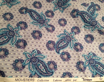 Lovely vintage french decorator cotton paisley design gorgeous colors  over 2 yards 40 wide