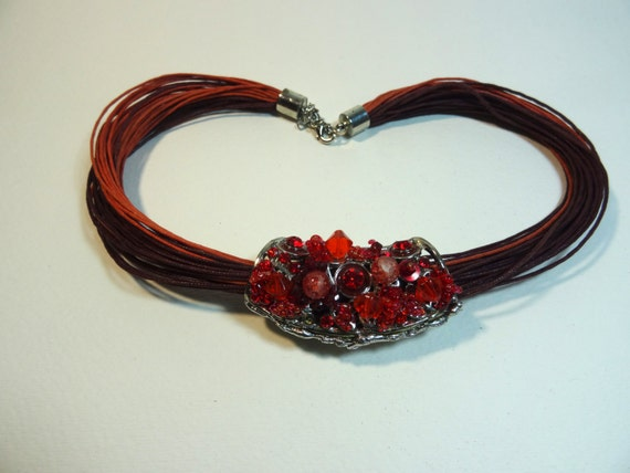 Vintage red and brown pendant necklace