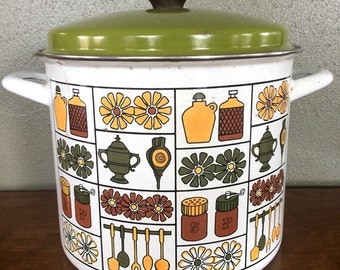 Vintage Cooking Pot- Cookware- StockPot- 70s- Kitchen