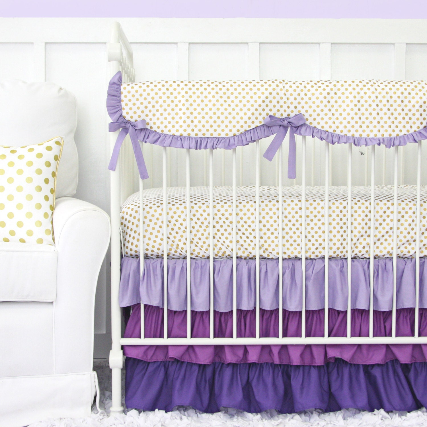 purple and gold dot ruffle designer baby bedding girl crib. Black Bedroom Furniture Sets. Home Design Ideas