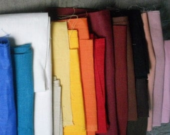 Linen fabric scraps, assorted solid colorful natural linen remnants, european flax for DIY sewing projects