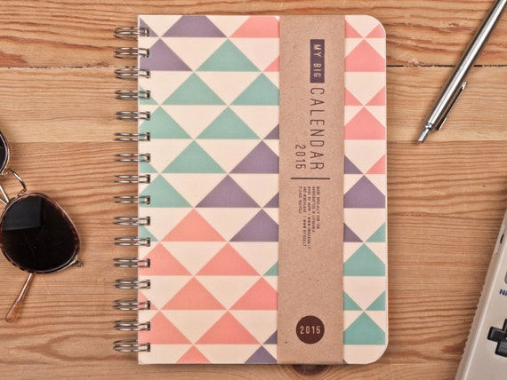2015 Year Weekly Planner Calendar Diary Day Spiral A5 Triangle Agenda Day Planner - BEST Christmas GIFT!