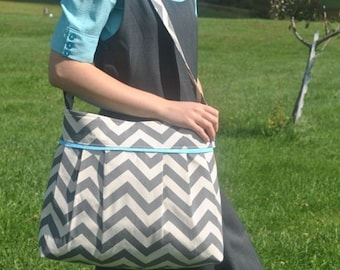 FREE changing pad  grey chevron diaper bag