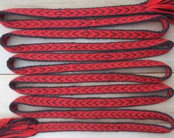 Tablet Woven Trim, Woolen Belt Re-enactment Wool Red Slavic Viking Dark Age Medieval 1 meter