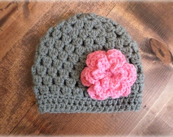 Gray and Pink Flower Hat