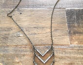 Slinky pyramid and rhinestone necklace, glamorous y necklace