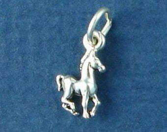COLT Miniature TINY Charm, Baby Horse, Foal, SMALL .925 Sterling Silver Charm