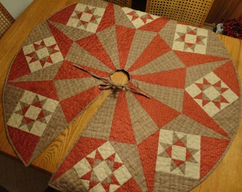 Just Reduced!! Christmas Tree Skirt in Brick Red and Tan with Ohio Stars    50 inches Round