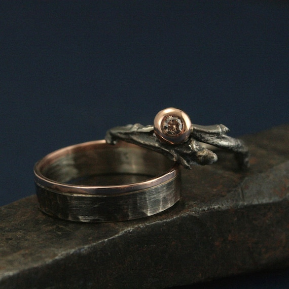 country wedding ring sets rustic woodland wedding set twig ring set with champagne 3133