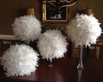 "12 "" Feather Kissing Ball,White  Feather Ball,Feather Pomander,Party Decorations,Wedding Decorations, Sweet 16  Decorations,"