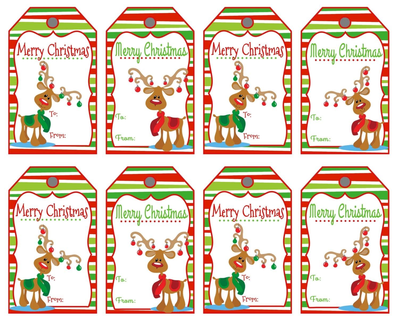 Christmas Name Tags: Christmas Gift Tags Reindeer Tags Merry Christmas