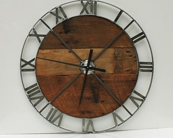 """36"""" Wall Clock - Industrial Steel/Metal with Barn Wood Insert (Movement & Hands NOT INCLUDED)"""