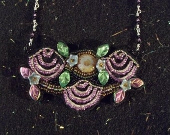 "Hand beaded neckpiece.....one of a kind.....approximately 3 3/4"" X 2 1/2"""