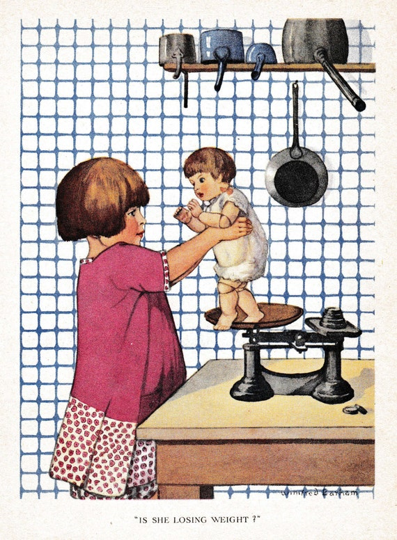 Antique children's print, book illustration of girl weighing her doll on old fashioned scales, Winifred Barham, matted for framing, 8x10 ins