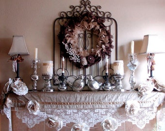 Holiday French christmas Shabby Mantle Nordic table runner  Chic, Runner,  hristmas  C Romantic nordic