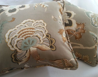 Taupe, Cream, Brown, Gray Turquoise Floral. 18 x 18 Pillow Cover. Chic. . Decorator Pillow. Handmade. Cording and zipper closure.