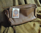 50% off - Tan leather Coach cross-body bag customized and upcycled by Wes Connell
