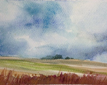 Chianti landscape with clouds, watercolor