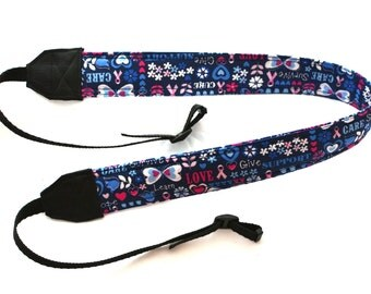 Breast Cancer Ribbon with Encouragement Words DSLR Camera Strap! Standard Size