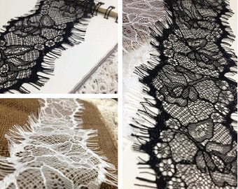 FREE SHIPPING 3m*8cm Exquisite Wide Black Chantilly Eyelash Lace Trim Width 8cm( More than 3 yards is not continuous)